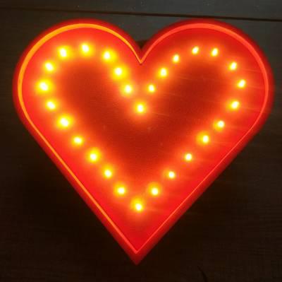 Corazón con luz led